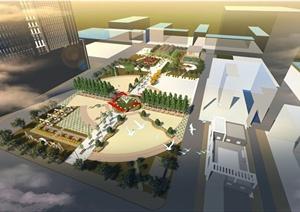某学校广场景观规划设计SU(草图大师)模型+JPG方案图+CAD施工图