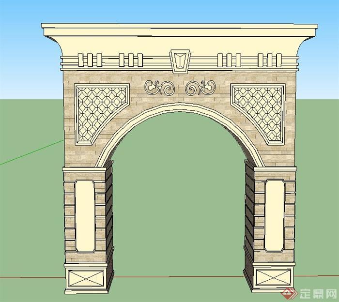 园林景观欧式风格入口门设计su模型(1)