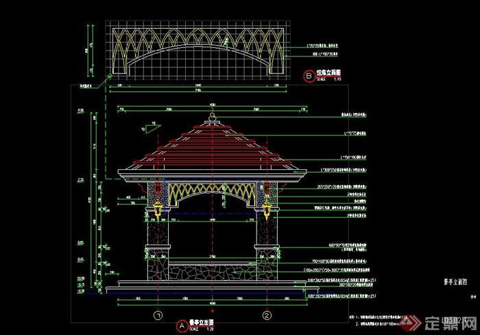 园林景观节点欧式四角凉亭设计cad施工做法[原创]