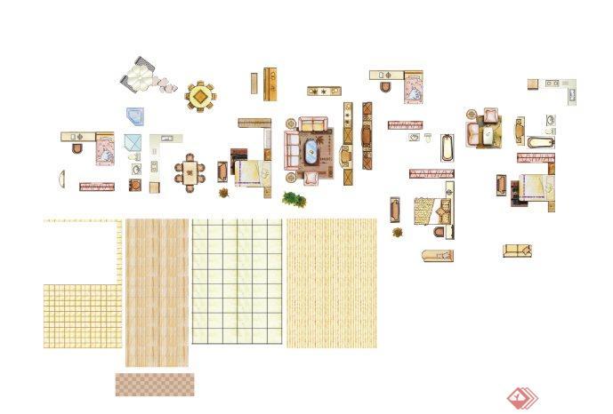 手绘样式家具,铺装ps平面