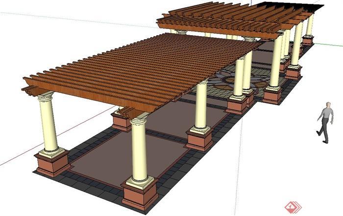 欧式木廊架设计su模型(含地面铺装