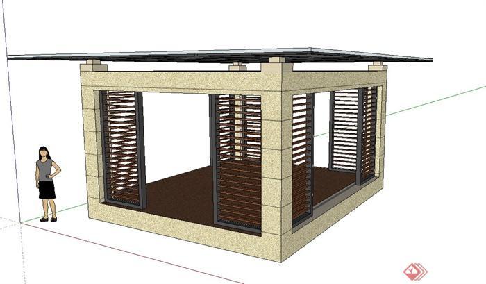 某现代玻璃屋顶廊架设计su模型(1)