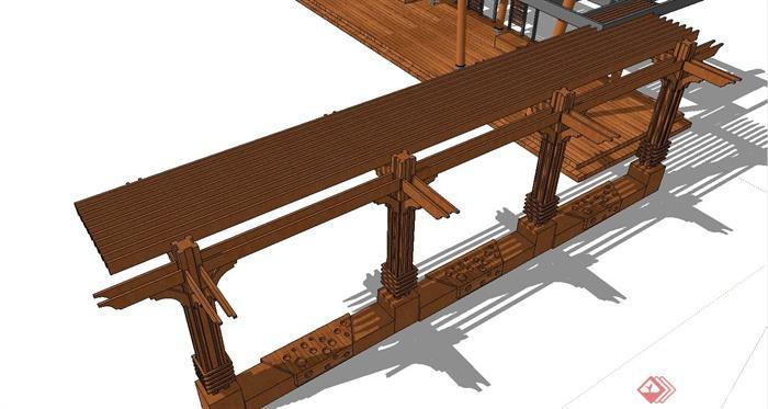 现代中式廊架设计su模型(木地板,木坐凳)(3)
