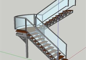 现代室内玻璃转折楼梯设计SU(草图大师)模型