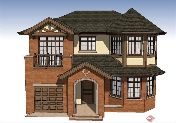 某欧式两层瓦面屋顶别墅建筑设计su模型(1)