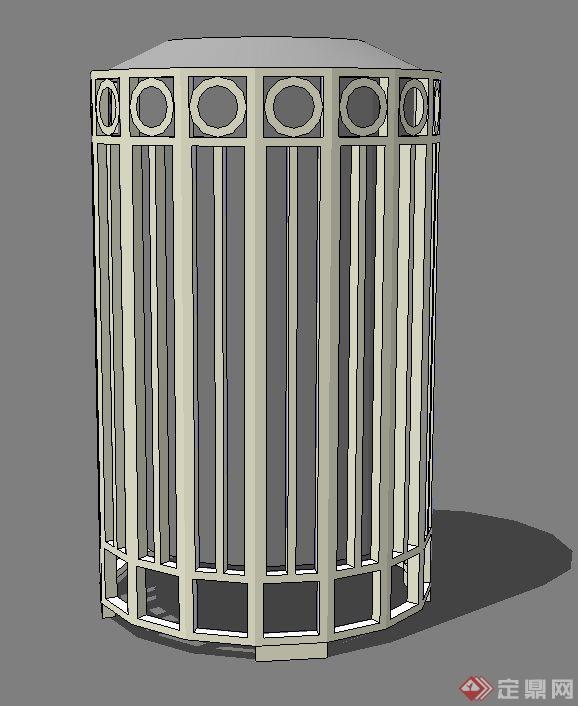 某现代圆柱形铁艺围网垃圾桶设计su模型
