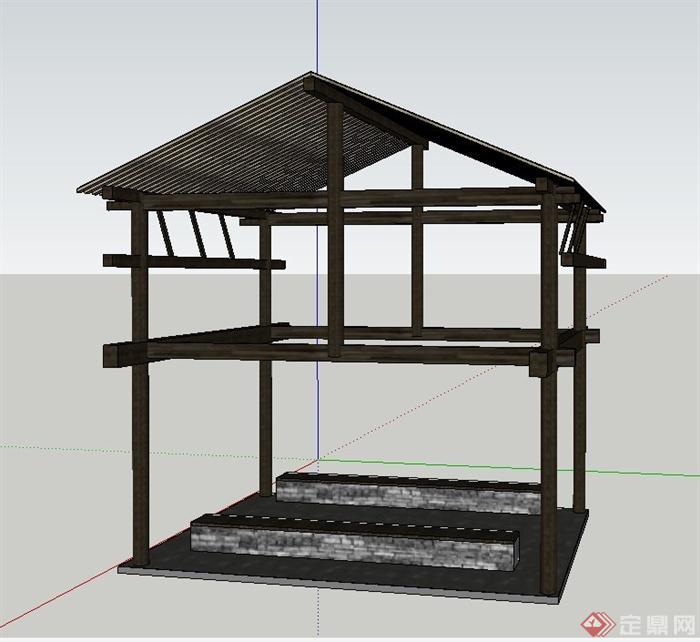 园林景观节点中式坡屋顶凉亭设计su模型