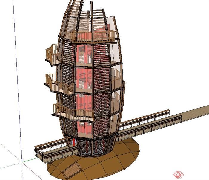 园林景观节点圆形观景台设计su模型(3)