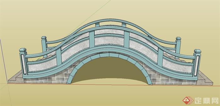 某现代拱桥建筑设计su模型
