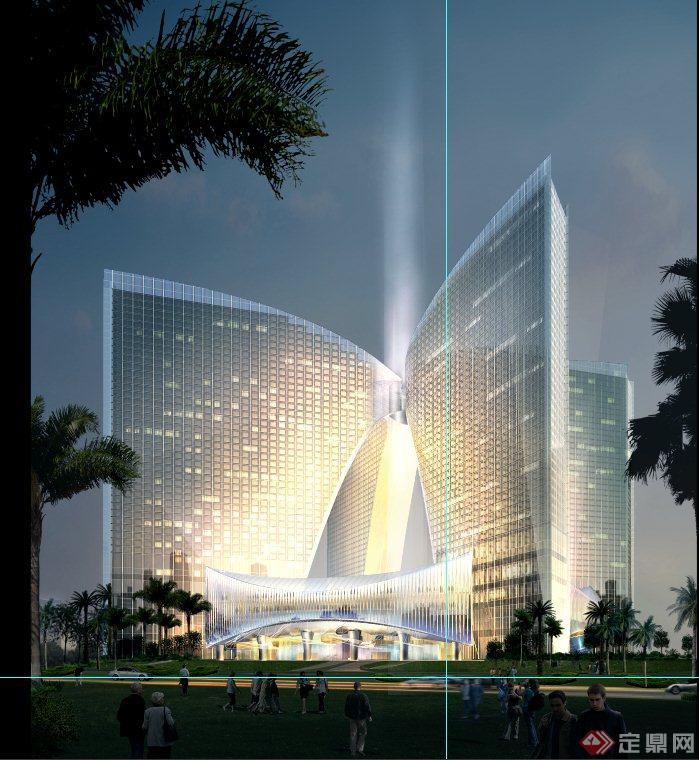 现代某公建酒店高层建筑设计psd效果图+3dmax模型+jp