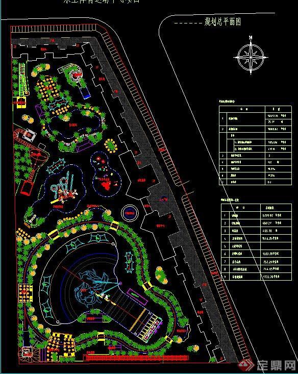 水上体育运动中心绿化规划设计CAD图cad2016变线条粗图片