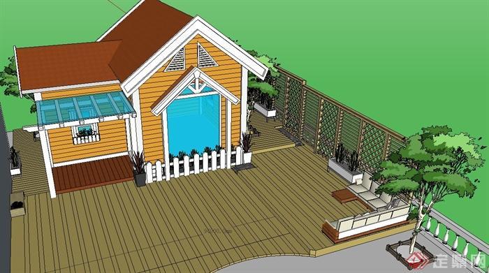 某欧式小木屋庭院花园设计su模型(2)