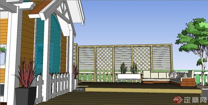 某欧式小木屋庭院花园设计su模型(1)