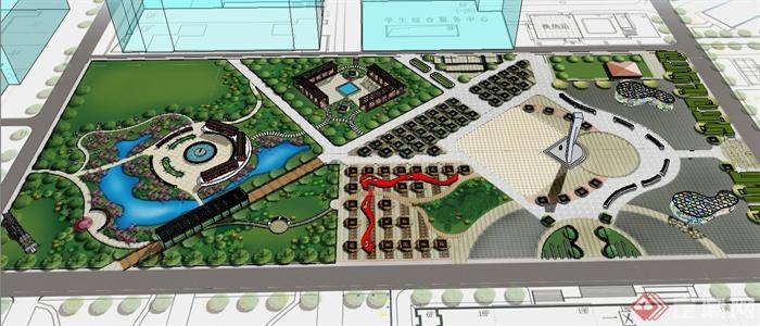 某校园广场景观规划设计su模型+cad图+jpg方案文本