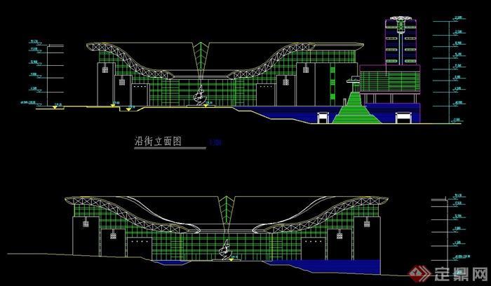 某 汽车中心建筑设计cad立面图