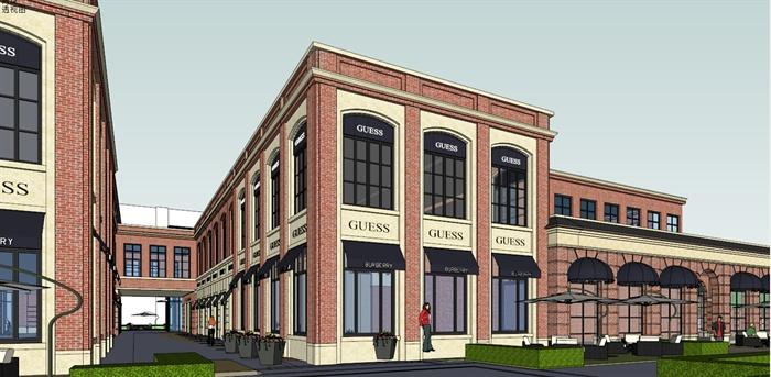 欧式风格商业街区建筑设计su模型