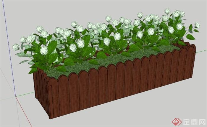 园林景观绣球花花池su模型小学开学海口图片