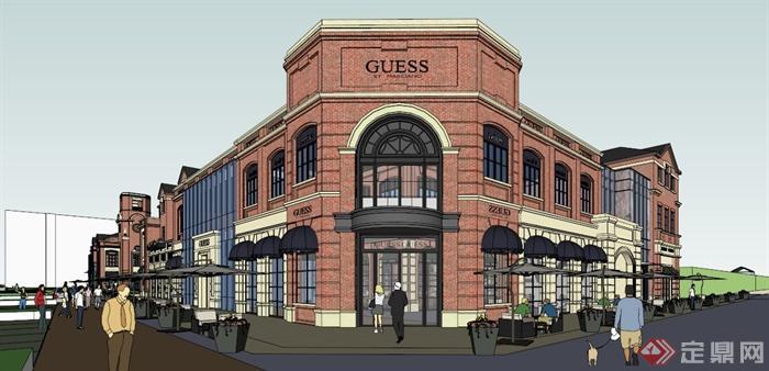 欧式风格商业街区建筑设计su模型(6)