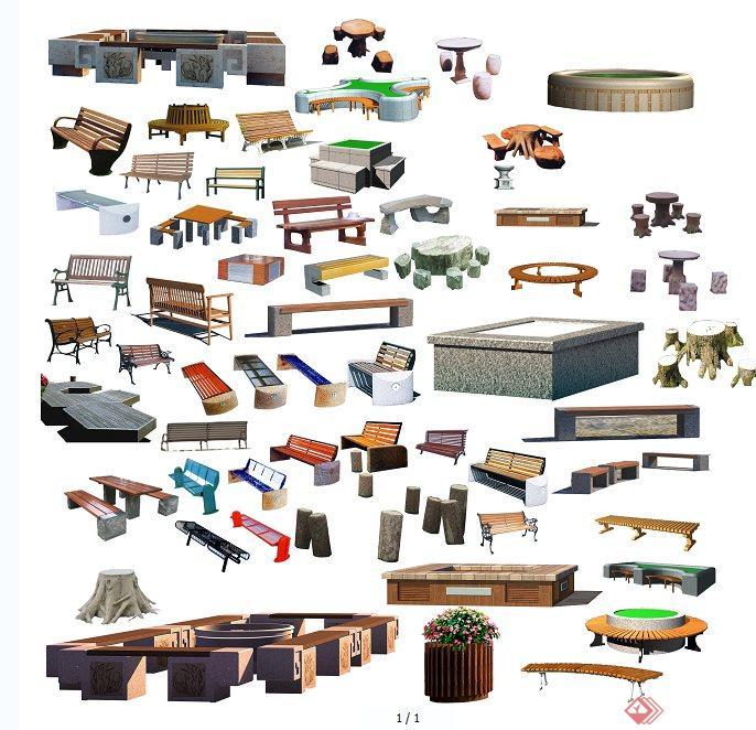 园林景观坐凳,树池,桌椅ps素材