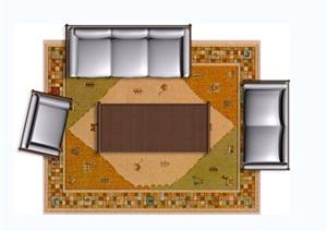 七套室内客厅沙发桌椅设计平时的效果图