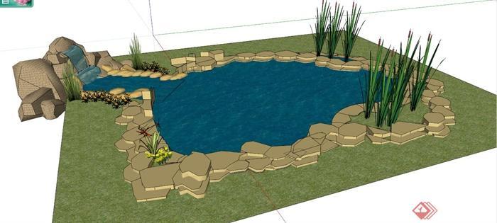 现代园林景观水池su模型(2)