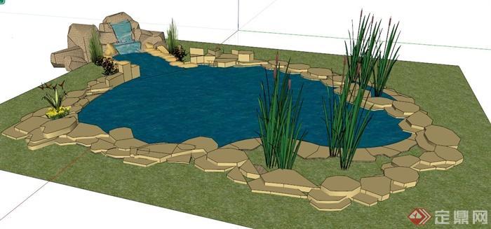 现代园林景观水池su模型