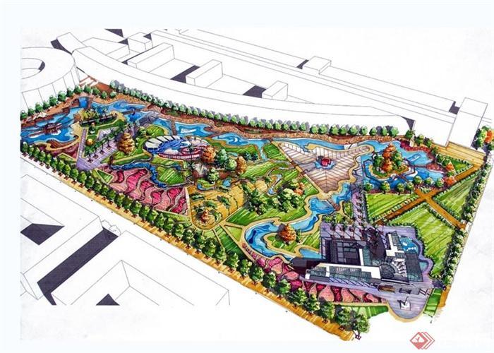 公园,广场,海湾景观节点手绘图及展板