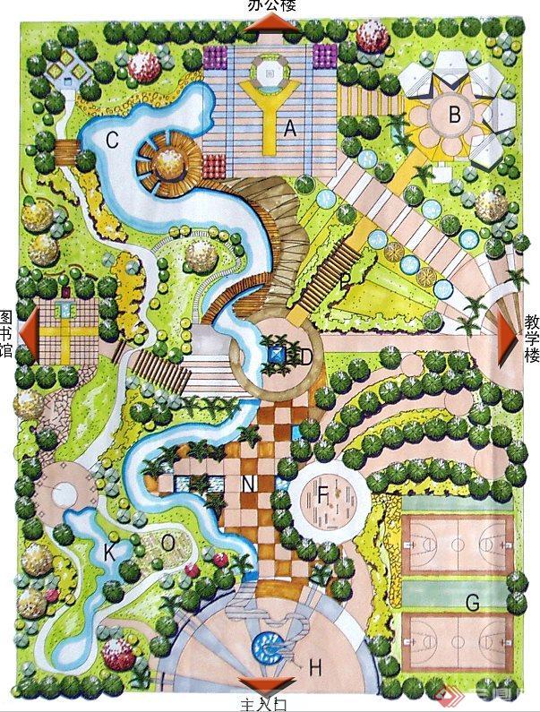 某校园生态广场设计彩平图,该图为jpg格式文本,图片清晰,规划合理,是较好的景观规划设计,可供学习爱好者下载参考及使用。