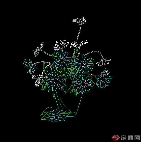 17款植物盆栽cad立面图