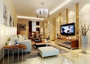 现代三房一厅室内设计方案图(带效果图)