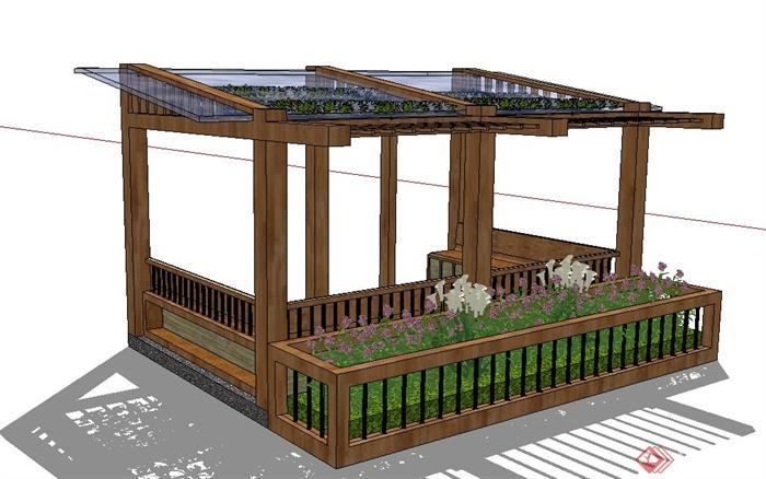 某现代玻璃廊架设计su模型(含花池,花架)(3)