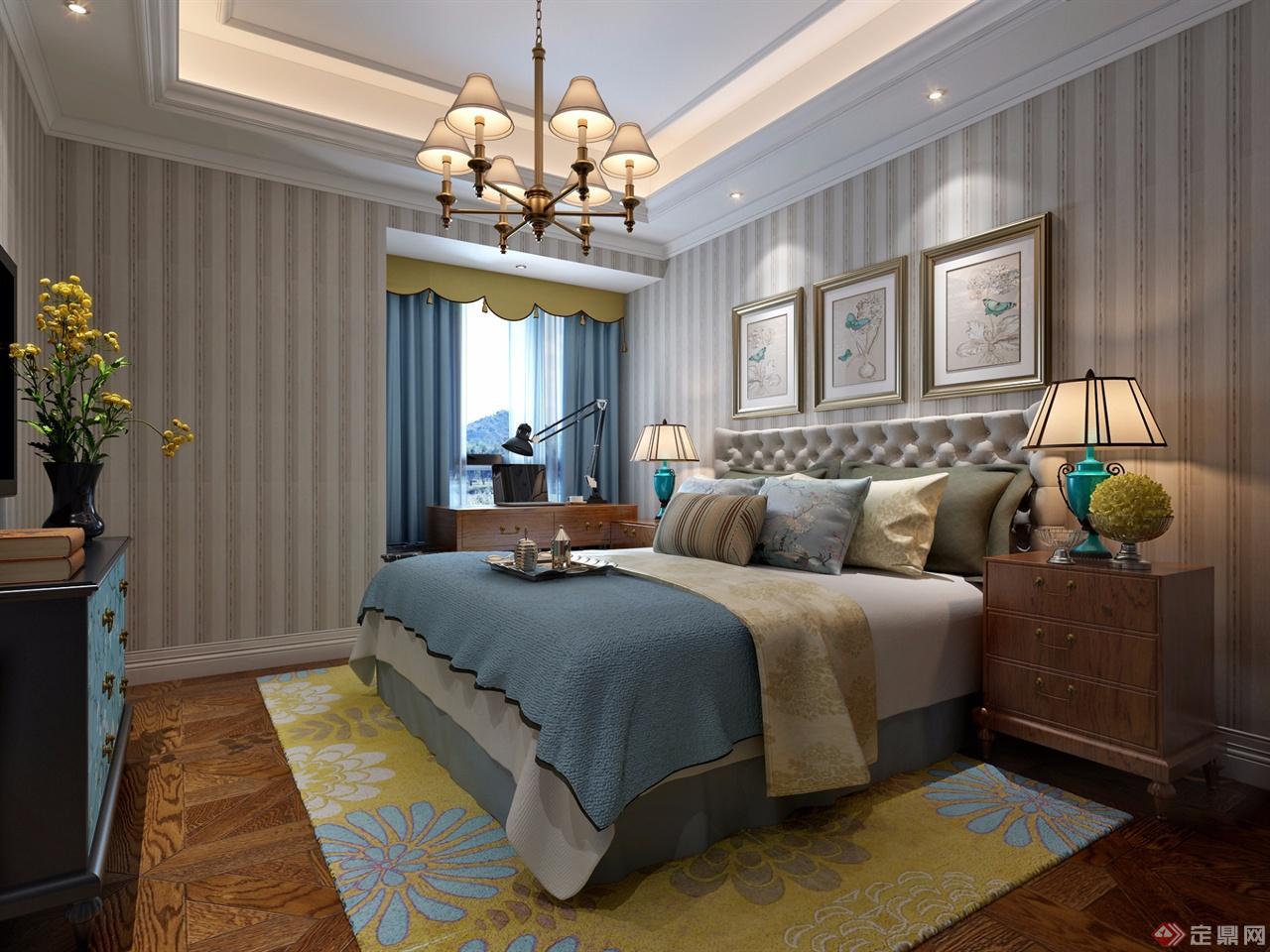 美式风格的样板房,格局客户需求,家具为柚木和白色为主,采用硬包,墙纸图片