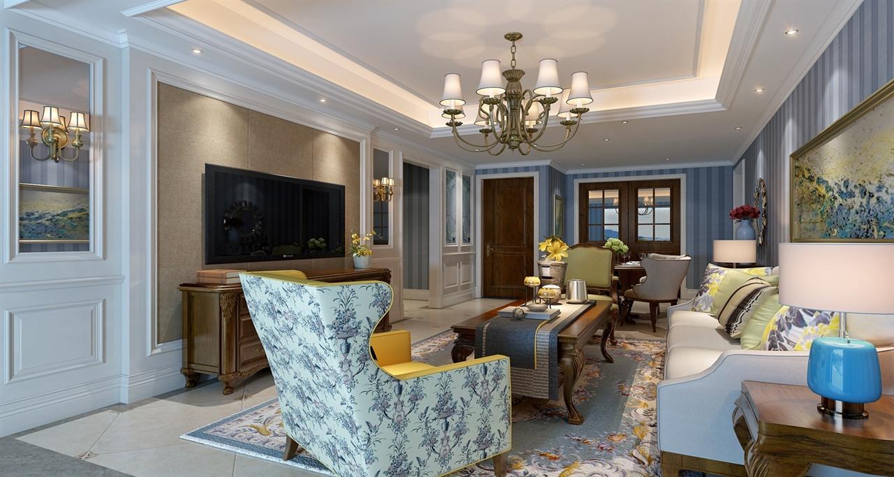 为美式风格的样板房,格局客户需求,家具为柚木和白色为主,采用硬包,墙图片