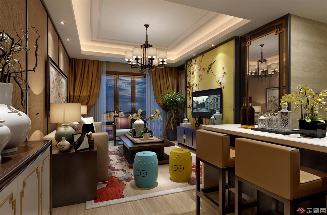 沙发背景采用硬包,加黑色木线条