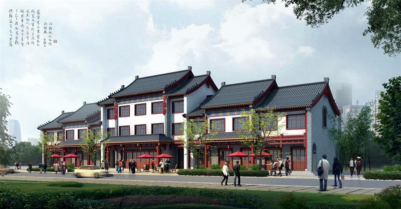 中式商業街-室外效果圖