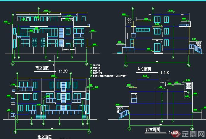 现代某三层联排平房住宅建筑设计CAD方案图(1)