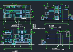 現代某三層聯排平房住宅建筑設計CAD方案圖