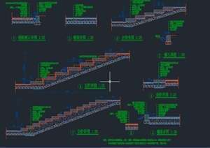 园林景观节点矮墙、道路、台阶等设计CAD施工图-DWG地面铺装园林