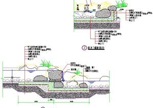 园林景观节点池底驳岸设计CAD施工图