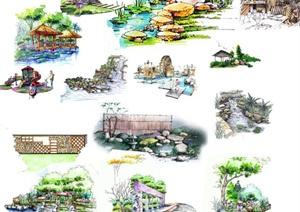 园林景观节点亭子、水景、景墙、小品等素材设计PSD图
