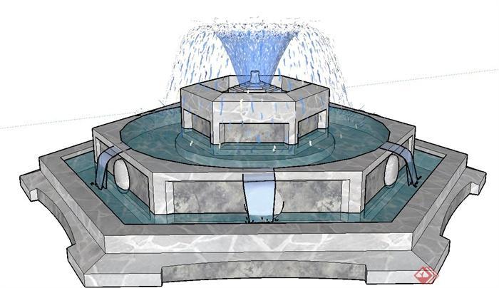 某现代六边形水景喷泉设计su模型
