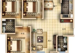 皇朝公馆3室2厅住宅空间设计PSD彩平图