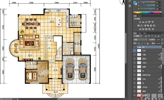 某别墅一层室内设计psd彩平图[原创]