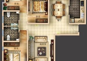某公馆三室两厅两卫室内设计psd封层布置图