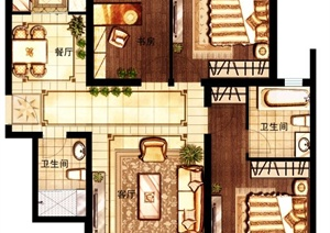 某现代公馆三室一厅室内设计psd分层图(平面布置图)