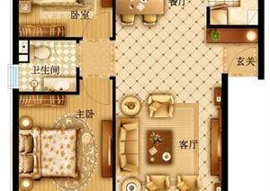 某现代小户型两室一厅一卫psd分层户型图