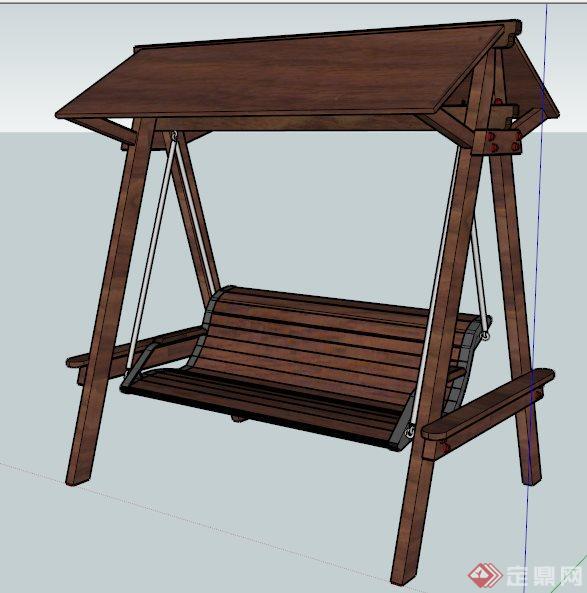 中式木制秋千椅su模型
