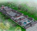 寺庙建筑,文化建筑,古建筑,水池景观,亭子,景观树,草坪