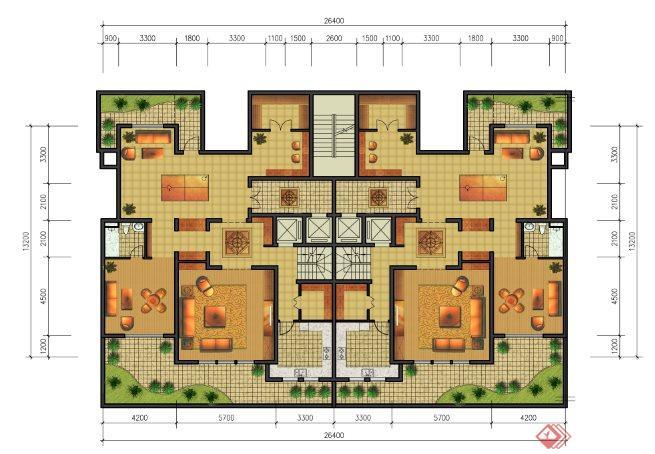一梯两户复式住宅户型图PSD平面