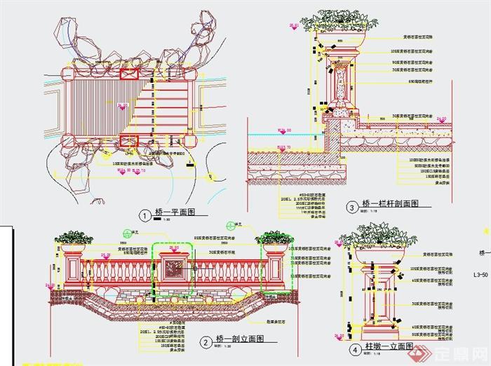 园林景观节点防腐木平桥设计cad施工图
